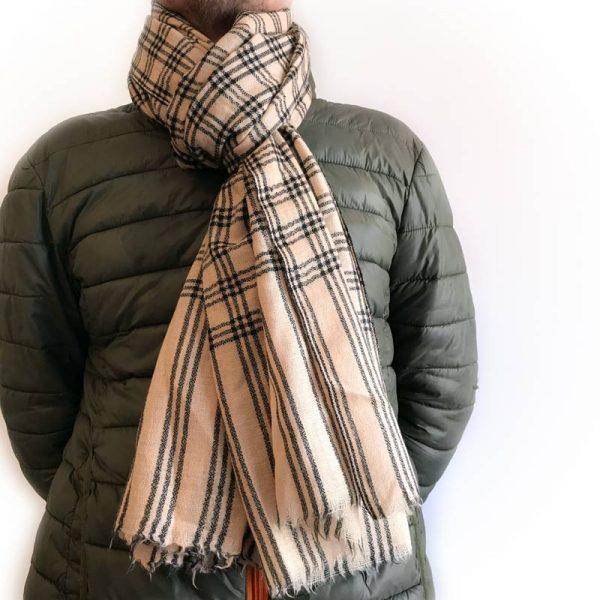 Mønstret cashmere tørklæde offwhite