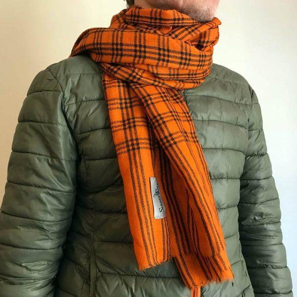 Mønstret cashmere tørklæde orange