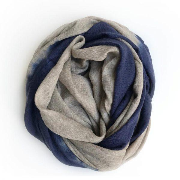 Cashmere Dip Dye Tørklæde - Mørkeblå