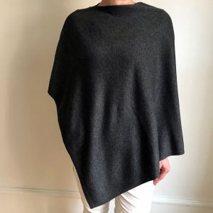 Cashmere Poncho - mørk grå