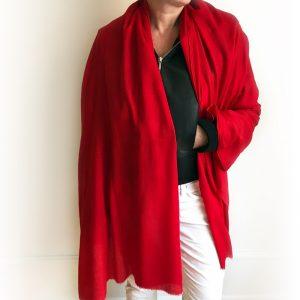 Sjal cashmere - rød