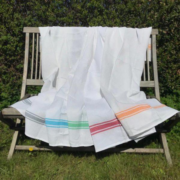 Vaffelvævet håndklæder m. striber ©SinaiaBee