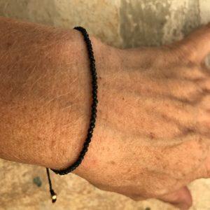 Armbånd med sten, elegant, sort