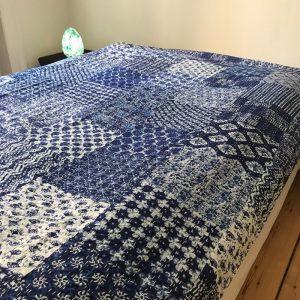 Indigo Kantha sengetæppe, quilt