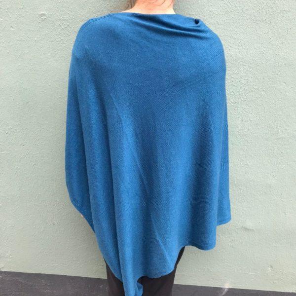 Cashmere Poncho - blå