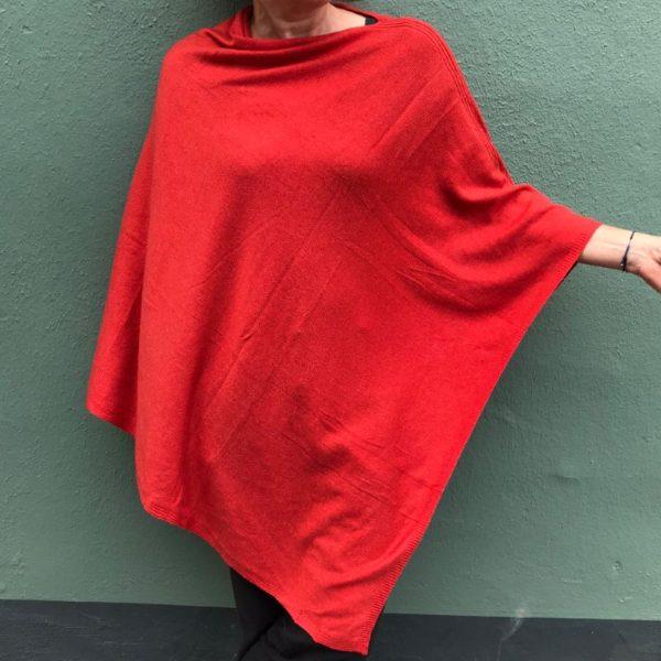 Cashmere Poncho - rød